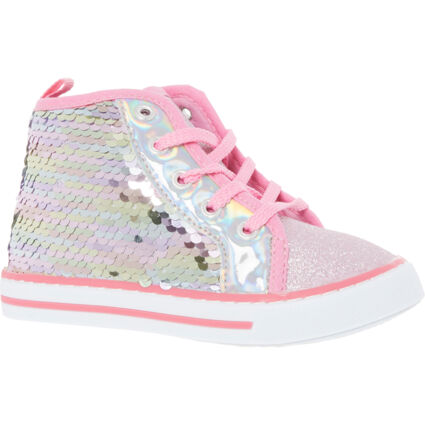 Silver & Pink Sequin Trainers