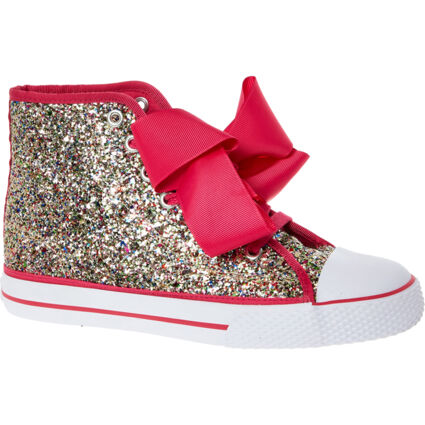 Pink & Silver Glittered High Top Trainers