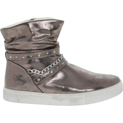 Silver Tone Cracked Ankle Boots