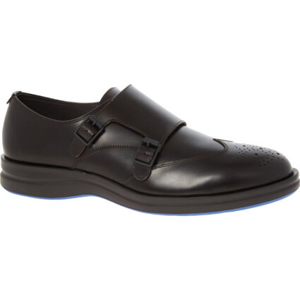 Brown Leather Double Monk Shoes