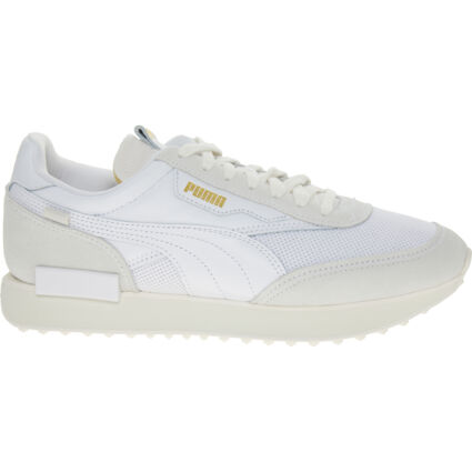 White Future Rider Luxe Suede Trainers