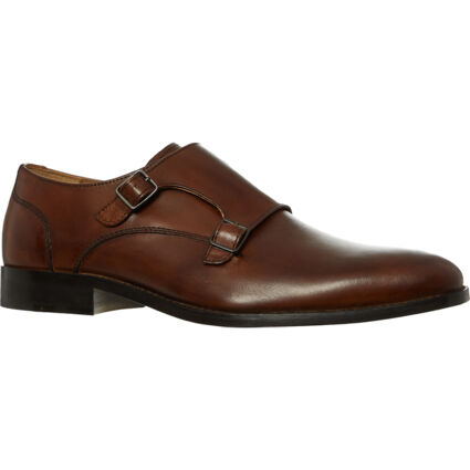 Brown Leather Double Buckle Shoes