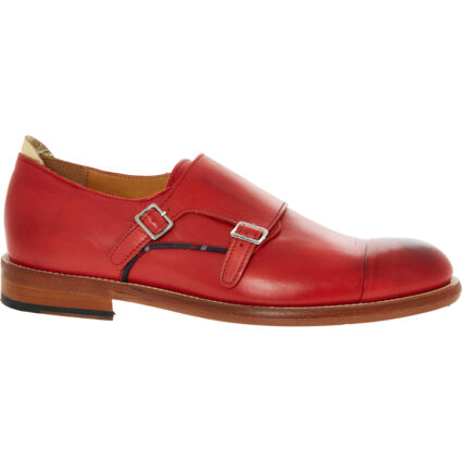 Red Leather Double Monk Shoes