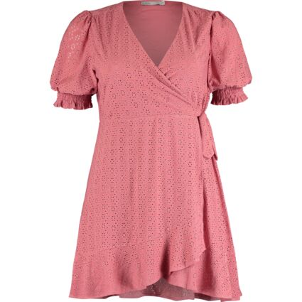 Pink Embroidered Ruffle Sleeve Wrap Dress