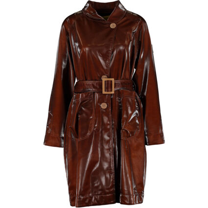 Brown Shiny Belted Mac