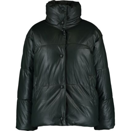 Green Faux Leather Puffer Jacket