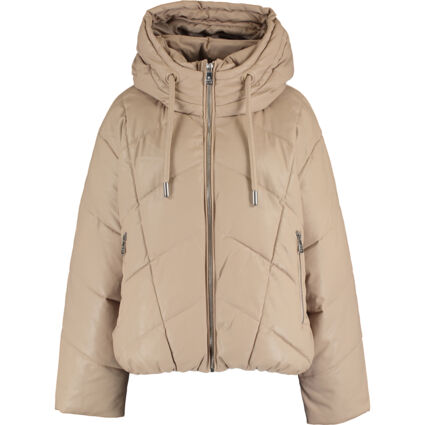 Brown Leather Puffer Jacket