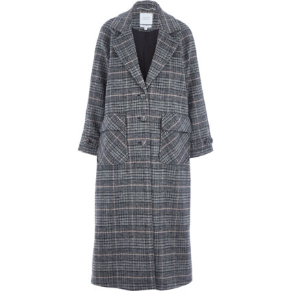 Grey & Pink Checkered Trench Coat