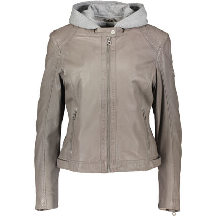 Taupe Jersey & Leather Jacket