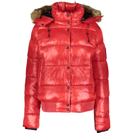 Red High Shine Puffer Bomber Jacket