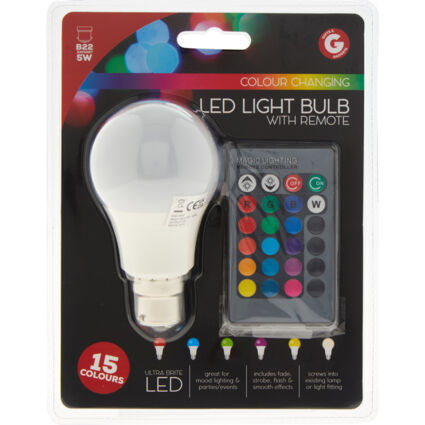 Multicoloured Smart LED Light Bulb With Remote