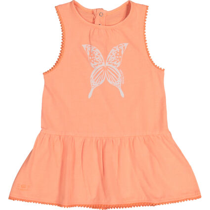 Coral Butterfly Print Sleeveless Day Dress