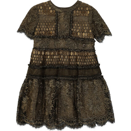 Gold Lace Party Dress