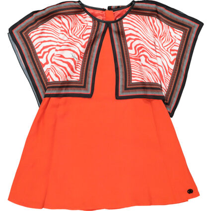 Red Patterned Cape Dress
