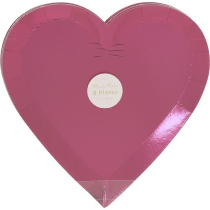 Eight Pack Pink Heart Plates 22x22cm