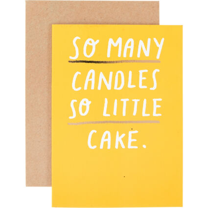 Yellow So Many Candles So Little Cake 15x10cm