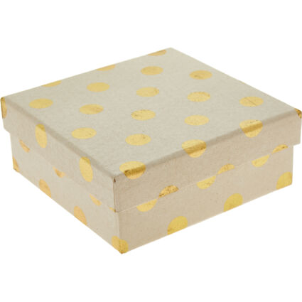 Brown & Gold Tone Spotted Gift Box 7x16cm