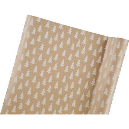Brown Retro Stamped Tree Gift Wrap 76x1220cm