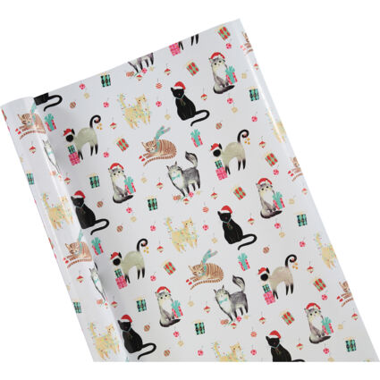White Holiday Soiree Cats Gift Wrap 920x101cm