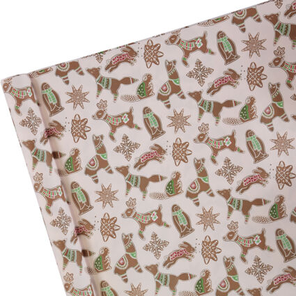 Pink Gingerbread Critters Gift Wrap 68cm