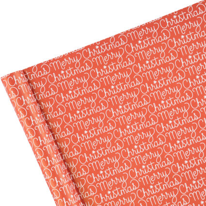 Red Merry Christmas Script Gift Wrap 68cm