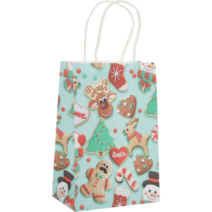 10 Pack Green Festive Biscuit Gift Bags