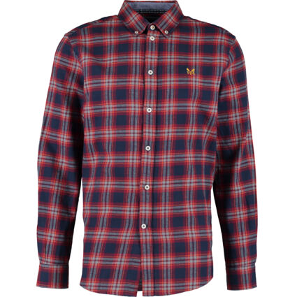 Red & Navy Flannel Long Sleeve Shirt