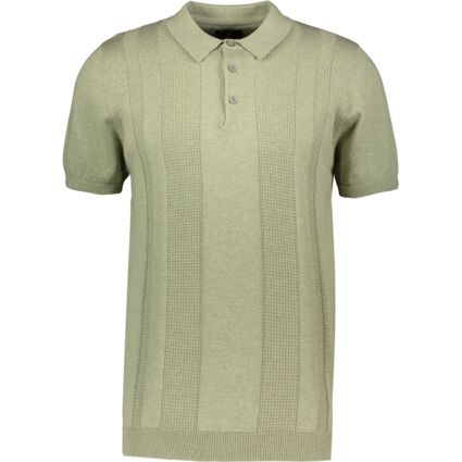 Sage Green Textured Knit Polo