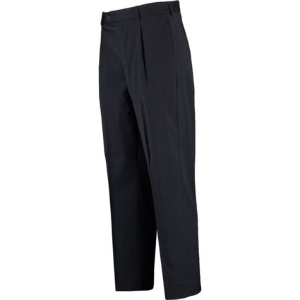 Navy Single Pleat Stretch Trousers