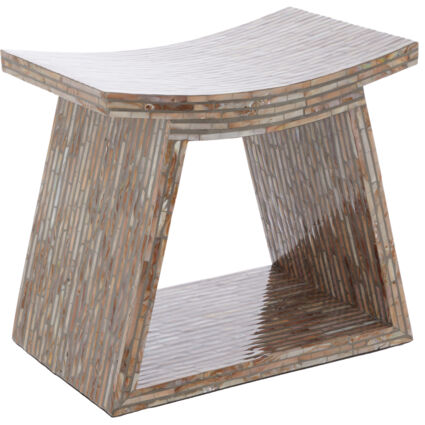Grey Mother Of Pearl Line Stool 54x50cm
