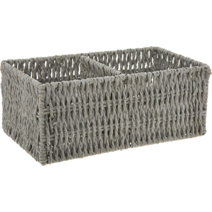 Grey Woven Two Section Tray 10x25cm