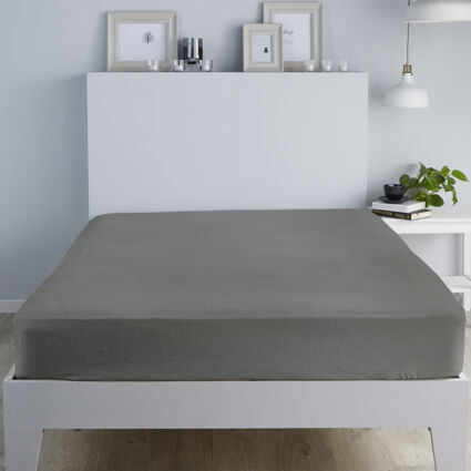 King Charcoal Brushed Fitted Sheet