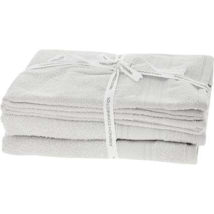 Four Pack Silver Grey Towels Set