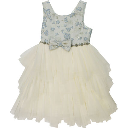 Blue & Ivory Jacquard Top with Tiered Skirt Dress