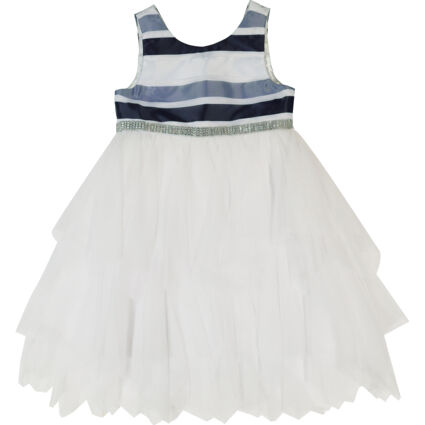 Navy & White Striped Detail Tiered Dress
