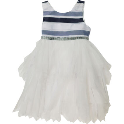 Navy & White Striped Top with Tiered Skirt Dress