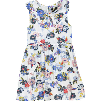 White & Blue Floral Frilled Day Dress