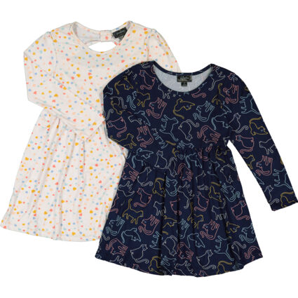 Two Pack Navy & Cream Dresses
