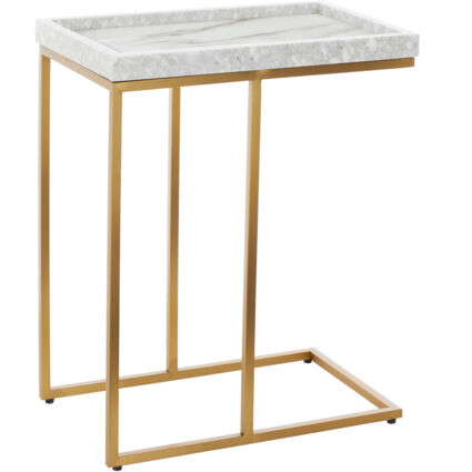 Gold Tone & White Marble Side Table 60x40cm