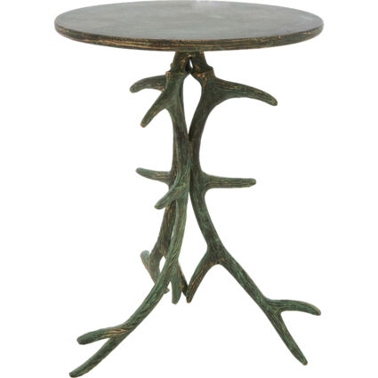 Green Patina Antler Side Table 53x39cm
