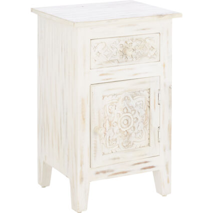 White Wash Hand Carved Bedside Table 66x44cm