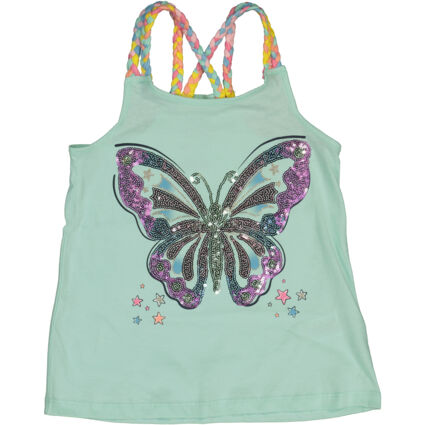 Green Sequin Butterfly Braid Top