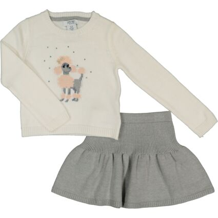 Two Piece White Poodle Outfit