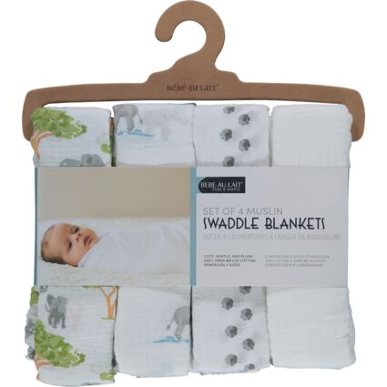 Four Pack White Swaddle Blankets 102x102cm