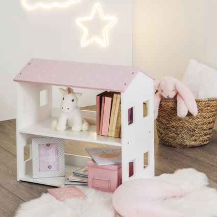 Pink & White House Bookcase 58x59cm