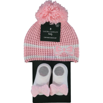Pink & White Beanie Hat & Bow Socks Two Piece Set