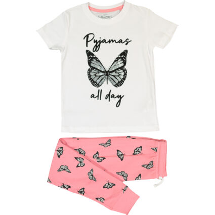Pink & White Butterfly Graphic Pyjamas