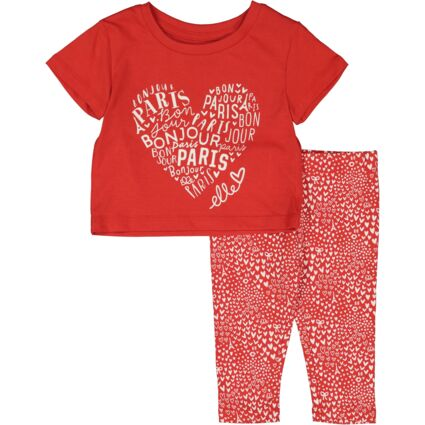 Red & White Heart Pattern Outfit