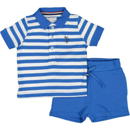 Blue & White Striped Polo & Shorts Outfit