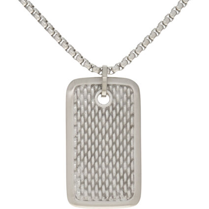 Silver Tone Dog Tag Necklace